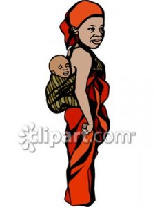 0060-0808-2016-4420_African_Mother_with_her_Child_on_Her_Back_in_a_Kanga_(Baby_Sling)_clipart_image